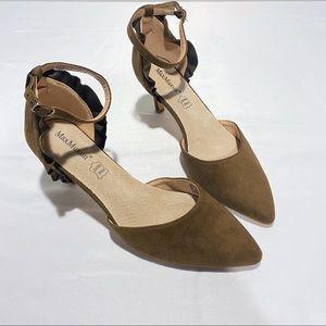 MAXMAXUM   Brown Suede Ankle Strap Heels